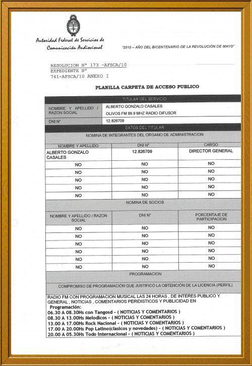 PLANILLA DE ACCESO PUBLICO 173  10 AFSCA: PLANILLA 1
